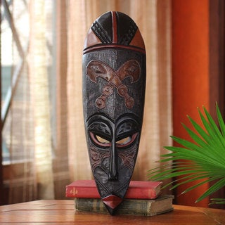 Handcrafted Sese Wood 'Sword of War' African Wall Mask (Ghana)