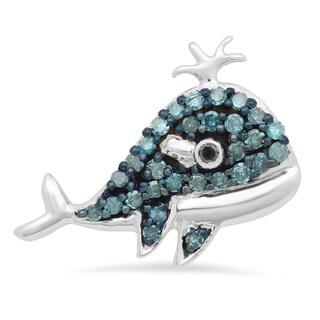Elora 10k White Gold 1/5ct TDW Blue and Black Diamond Dolphin Pendant