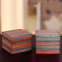 Set of 2 Handmade Indian Elm Wood 'Festive Delhi' Decorative Boxes (India)