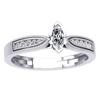 Elora 18k White Gold 1/3ct TDW Marquise Round-cut Diamond Bridal Vintage Style Ring (H-I I1-I2)