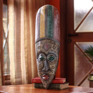 Handcrafted Sese Wood 'Appenteng' African Wall Mask (Ghana)