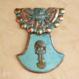 Handcrafted Bronze Copper 'Sacred Tumi' Wall Sculpture (Peru)