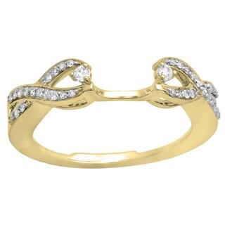 Elora 14k Gold 1/4ct TDW White Diamond Swirl Anniversary Split Shank Wedding Ring (I-J, I2-I3)