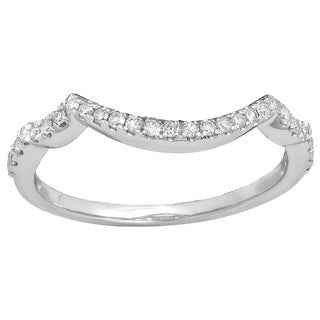 Elora 14k Gold 1/5ct TDW Round-cut Diamond Anniversary Stackable Band Contour Guard Ring (I-J, I2-I3)