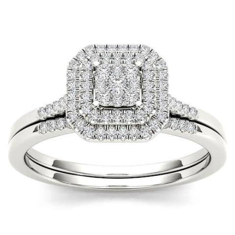De Couer 10k White Gold 1/4ct TDW Diamond Cluster Halo Bridal Set