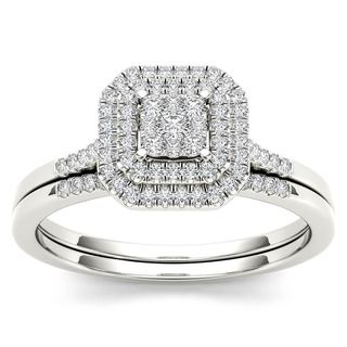 De Couer 10k White Gold 1/4ct TDW Diamond Cluster Halo Bridal Set - White H-I