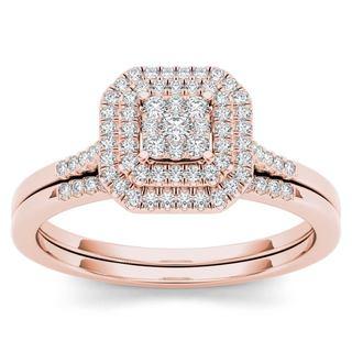 De Couer 10k Rose Gold 1/4ct TDW Diamond Cluster Halo Bridal Set (H-I,I2)