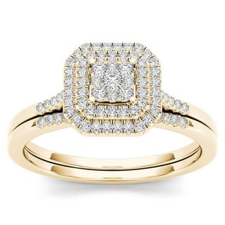 De Couer 10k Yellow Gold 1/4ct TDW Diamond Cluster Halo Bridal Set (H-I,I2)