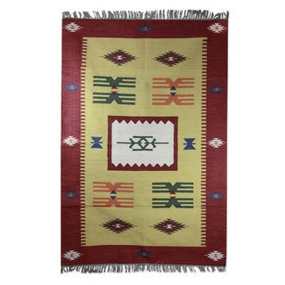 Handcrafted Cotton 'Coral Celebration' Dhurrie Rug (4x6) (India)