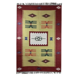 Handmade Cotton 'Coral Celebration' Dhurrie Rug (India) - 4x6