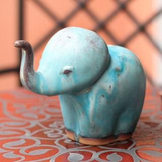 Handcrafted Ceramic 'Turquoise Elephant Child' Celadon Statuette (Thailand)