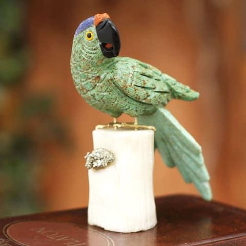 Handcrafted Gemstone 'Aqua Macaw' Sculpture (Peru)