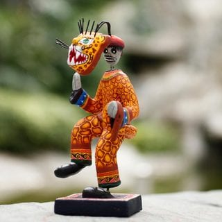Handcrafted Ceramic 'Day of the Dead Jaguar Dance' Statuette (Mexico)