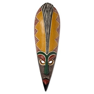 Handcrafted Sese Wood 'Messenger of Peace' African Wall Mask (Ghana)