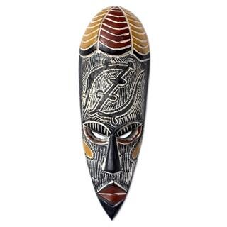 Handcrafted Rubberwood 'Zangora' Mask (Ghana)
