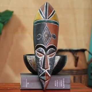 Handcrafted Rubberwood 'Maigaya' Mask (Ghana)