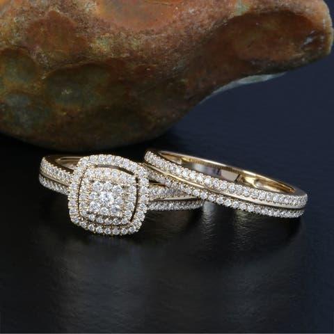 De Couer 14k Yellow Gold 1/2ct TDW Diamond Cluster Halo Bridal Set