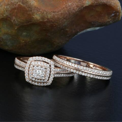 De Couer 14k Rose Gold 1/2ct TDW Diamond Cluster Halo Bridal Set