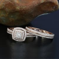 De Couer 14k Rose Gold 1/2ct TDW Diamond Cluster Halo Bridal Set - Pink