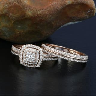 De Couer 14k Rose Gold 1 2ct Tdw Diamond Cer Halo Bridal Set Pink