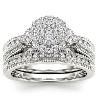 De Couer 14k White Gold 1/2ct TDW Diamond Cluster Halo Bridal Set (H-I, I2)