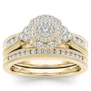 De Couer 14k Yellow Gold 1/2ct TDW Diamond Cluster Halo Bridal Set (H-I,I2)