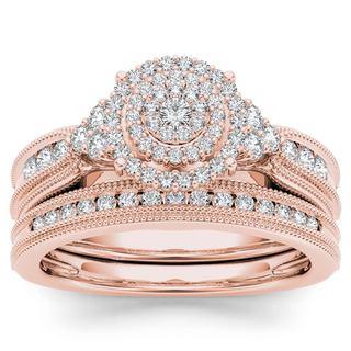 De Couer 14k Rose Gold 1/2ct TDW Diamond Cluster Halo Bridal Set (H-I,I2)