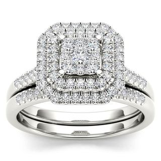 De Couer 14k White Gold 1/2ct TDW Diamond Cluster Halo Bridal Set - White H-I