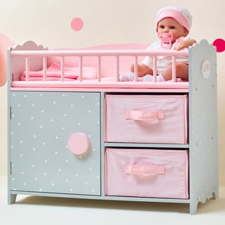 Olivia's Little World Polka Dots Princess Baby Doll Crib with Cabinet and Cubby