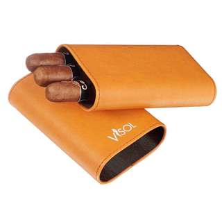 Visol Arapaho Cigar Case for Large Ring Gauge Cigars - Tan
