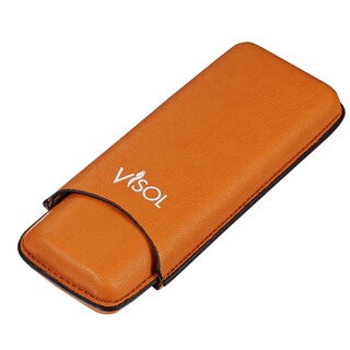 Visol Dakota Tan 60 Ring Gauge Cigar Case -Holds 2 Cigars