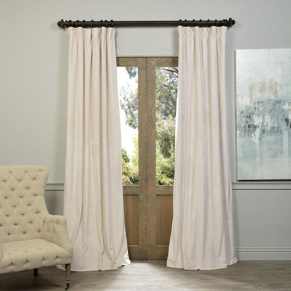 """Exclusive Fabrics Signature Ivory Velvet Blackout Curtain Panel -120""""L - (As Is Item). Opens flyout."""