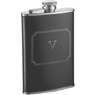 Visol Marcel Black Matte 8 oz Liquor Flask with Engraved Initial - Letter V