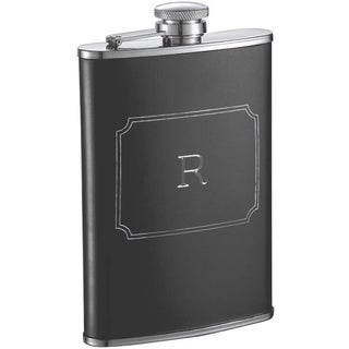 Visol Marcel Black Matte 8 oz Liquor Flask with Engraved Initial - Letter R