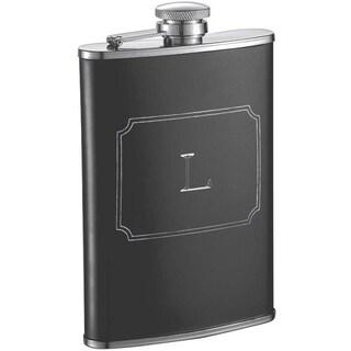 Visol Marcel Black Matte 8 oz Liquor Flask with Engraved Initial - Letter L