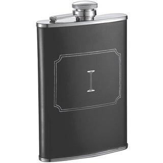 Visol Marcel Black Matte 8 oz Liquor Flask with Engraved Initial - Letter I