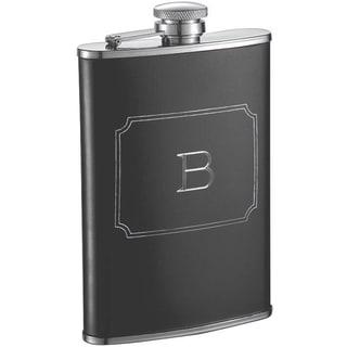 Visol Marcel Black Matte 8 oz Liquor Flask with Engraved Initial - Letter B