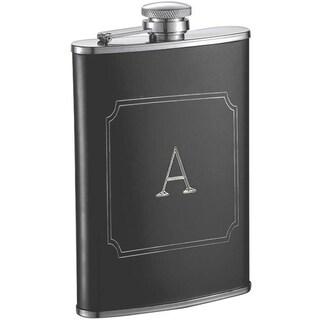 Visol Marcel Black Matte 8 oz Liquor Flask with Engraved Initial - Letter A