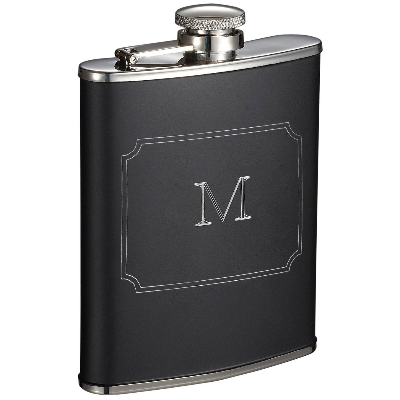 Visol Marcel Black Matte 6 oz Liquor Flask with Engraved ...