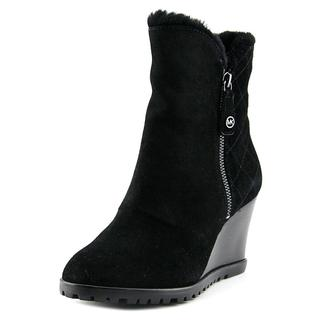 Michael Michael Kors Women's Whitaker Wedge Boot Regular Black Suede Boots