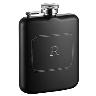 Visol Podova Black Matte 6 oz Flask with Engraved Initial - Letter R