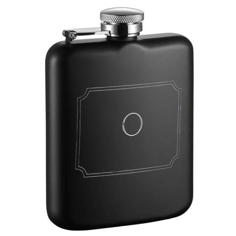 Visol Podova Black Matte 6 oz Flask with Engraved Initial - Letter O