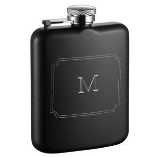 Visol Podova Black Matte 6 oz Flask with Engraved Initial - Letter M