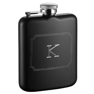 Visol Podova Black Matte 6 oz Flask with Engraved Initial - Letter K