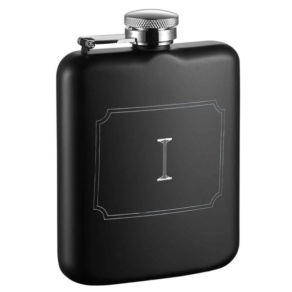 Visol Podova Black Matte 6 oz Flask with Engraved Initial - Letter I