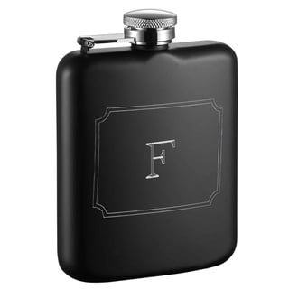 Visol Podova Black Matte 6 oz Flask with Engraved Initial - Letter F