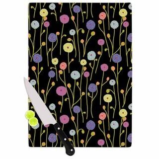 Kess InHouse Laura Nicholson 'Ranunculas On Black' Yellow Floral Cutting Board