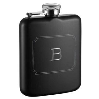 Visol Podova Black Matte 6 oz Flask with Engraved Initial - Letter B