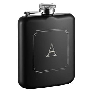 Visol Podova Black Matte 6 oz Flask with Engraved Initial - Letter A
