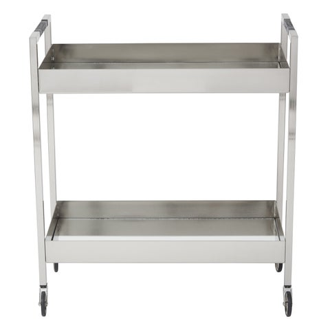 Silver Orchid Robinson Stainless Cart in Brushed Nickel Finish